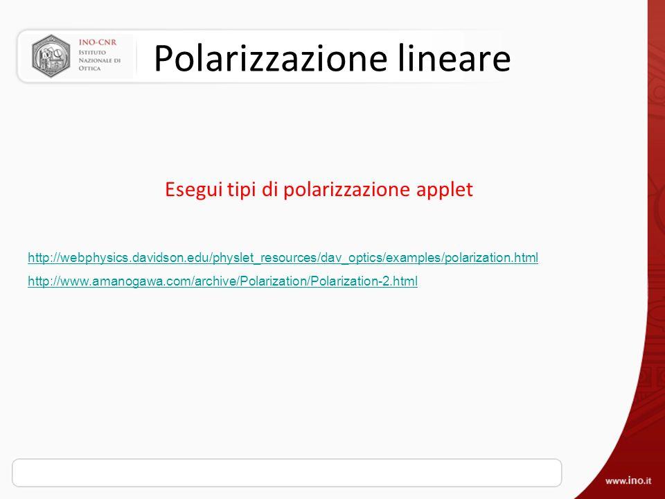 Polarizzazione lineare Esegui tipi di polarizzazione applet http://webphysics.davidson.edu/physlet_resources/dav_optics/examples/polarization.html htt