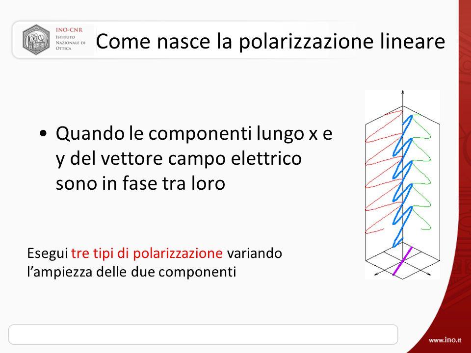 Come nasce la polarizzazione lineare Quando le componenti lungo x e y del vettore campo elettrico sono in fase tra loro Esegui tre tipi di polarizzazi