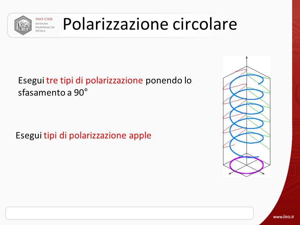 Polarizzazione circolare Esegui tre tipi di polarizzazione ponendo lo sfasamento a 90 ° Esegui tipi di polarizzazione apple