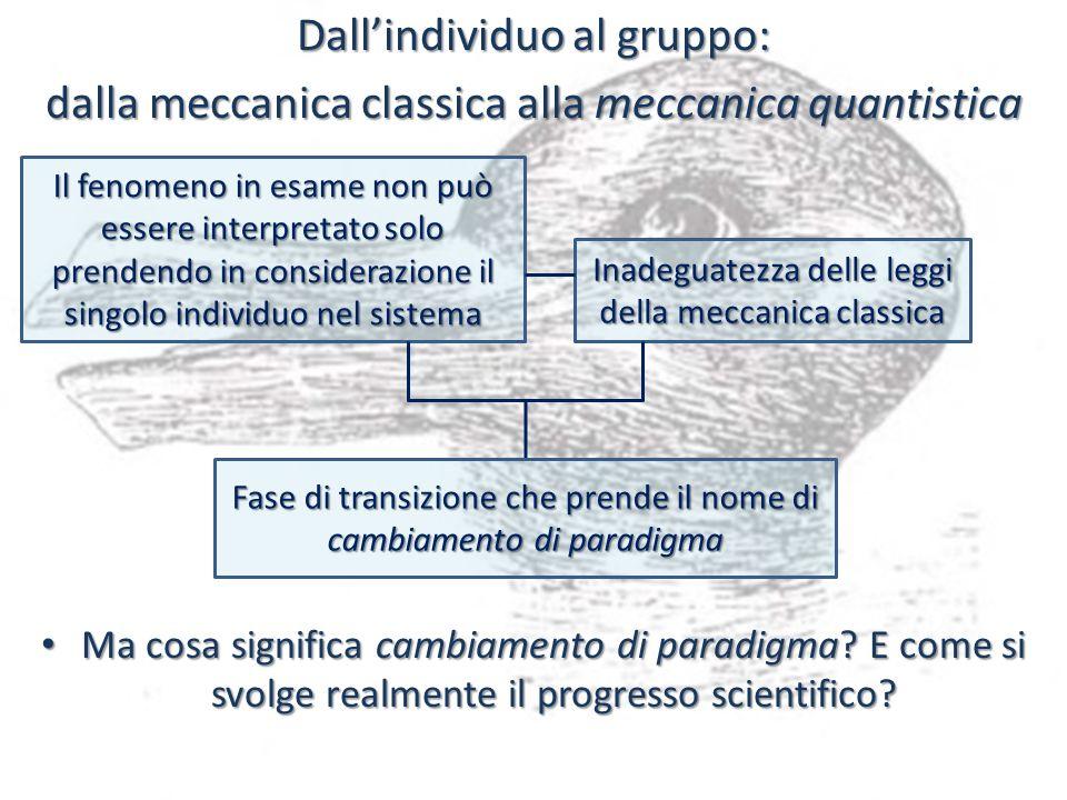 Dallindividuo al gruppo: dalla meccanica classica alla meccanica quantistica Ma cosa significa cambiamento di paradigma? E come si svolge realmente il
