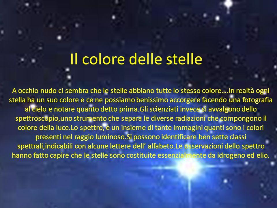 Il colore delle stelle A occhio nudo ci sembra che le stelle abbiano tutte lo stesso colore….in realtà ogni stella ha un suo colore e ce ne possiamo benissimo accorgere facendo una fotografia al cielo e notare quanto detto prima.Gli scienziati invece si avvalgono dello spettroscopio,uno strumento che separa le diverse radiazioni che compongono il colore della luce.Lo spettro, è un insieme di tante immagini quanti sono i colori presenti nel raggio luminoso.Si possono identificare ben sette classi spettrali,indicabili con alcune lettere dell alfabeto.Le osservazioni dello spettro hanno fatto capire che le stelle sono costituite essenzialmente da idrogeno ed elio.