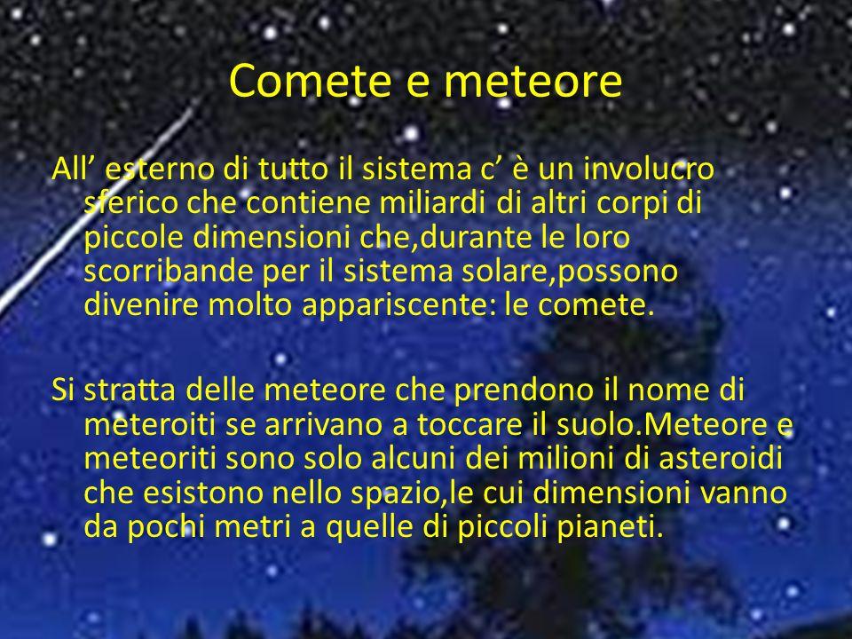 Comete e meteore All esterno di tutto il sistema c è un involucro sferico che contiene miliardi di altri corpi di piccole dimensioni che,durante le loro scorribande per il sistema solare,possono divenire molto appariscente: le comete.