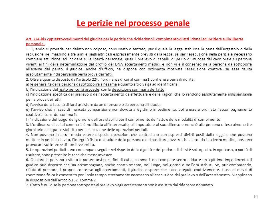 Le perizie nel processo penale Art. 224-bis cpp. Provvedimenti del giudice per le perizie che richiedono il compimento di atti idonei ad incidere sull