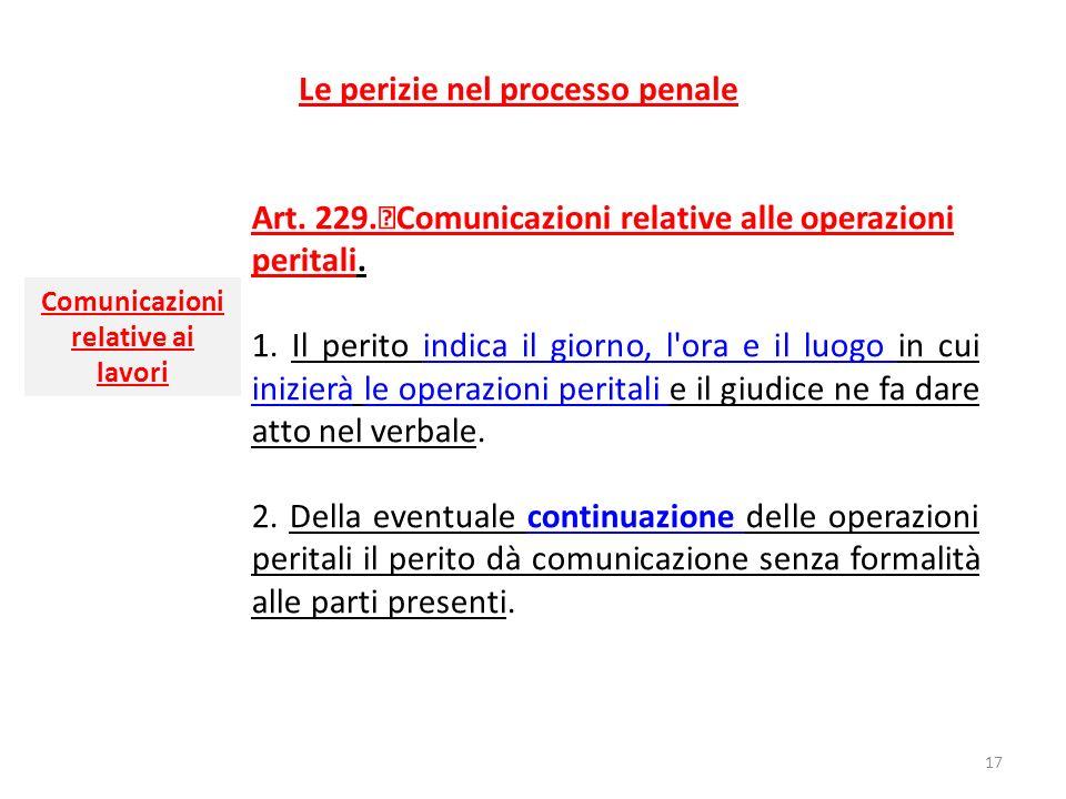 Le perizie nel processo penale Art. 229. Comunicazioni relative alle operazioni peritali. 1. Il perito indica il giorno, l'ora e il luogo in cui inizi