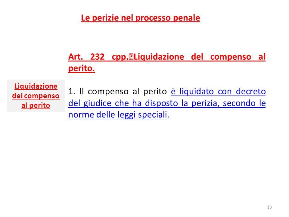 Le perizie nel processo penale Art. 232 cpp. Liquidazione del compenso al perito. 1. Il compenso al perito è liquidato con decreto del giudice che ha