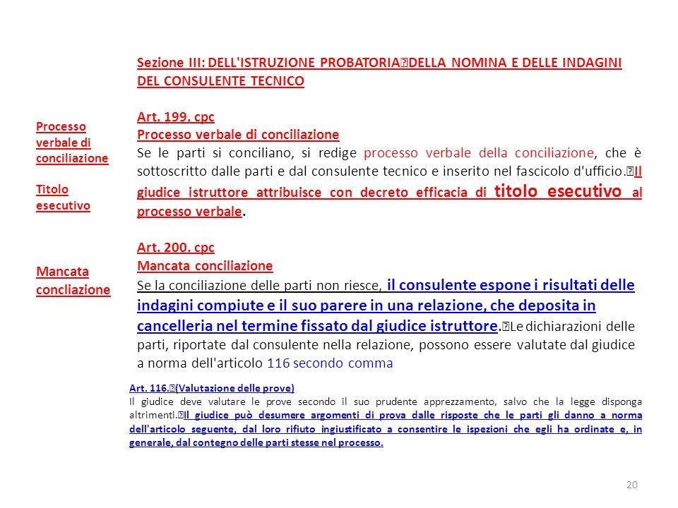 Sezione III: DELL'ISTRUZIONE PROBATORIA DELLA NOMINA E DELLE INDAGINI DEL CONSULENTE TECNICO Art. 199. cpc Processo verbale di conciliazione Se le par