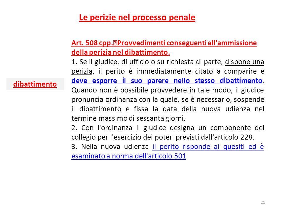 Le perizie nel processo penale Art. 508 cpp. Provvedimenti conseguenti all'ammissione della perizia nel dibattimento. 1. Se il giudice, di ufficio o s
