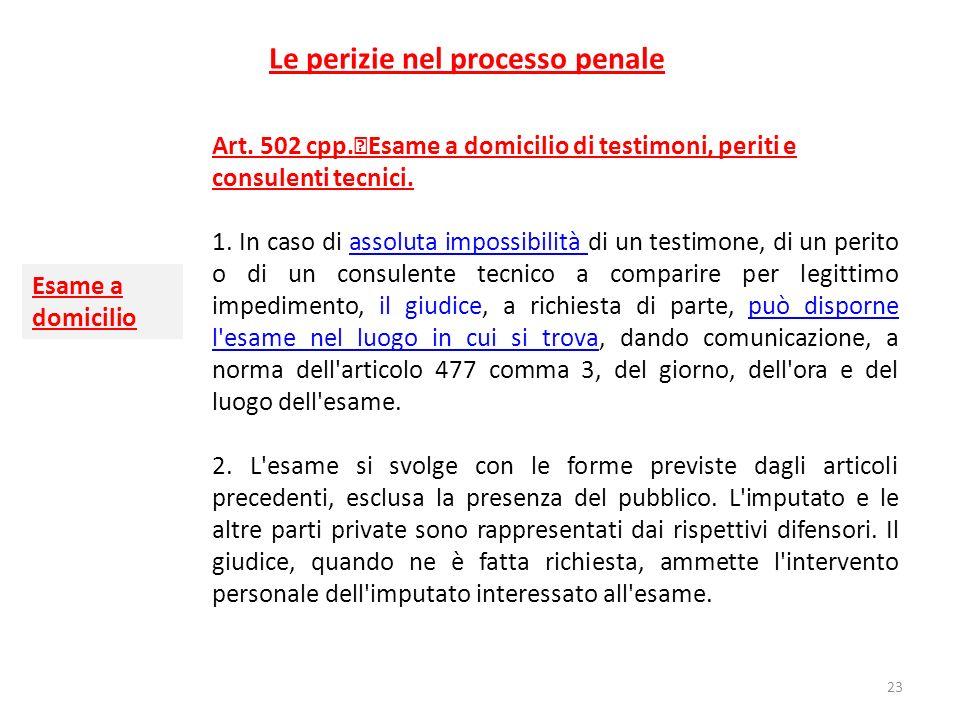 Le perizie nel processo penale Art. 502 cpp. Esame a domicilio di testimoni, periti e consulenti tecnici. 1. In caso di assoluta impossibilità di un t