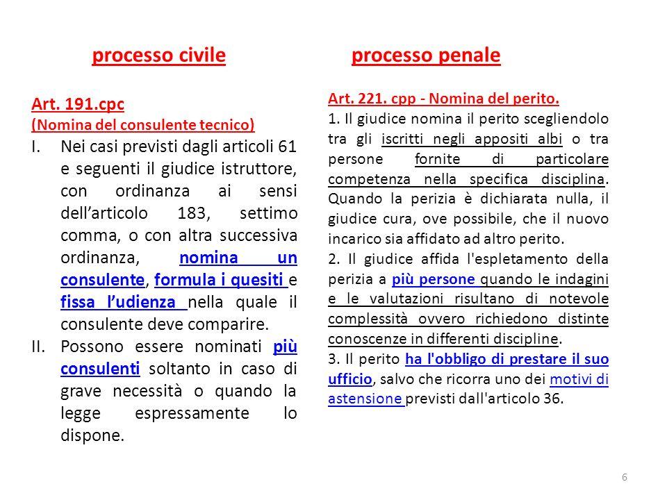 Le perizie nel processo penale Art.229. Comunicazioni relative alle operazioni peritali.