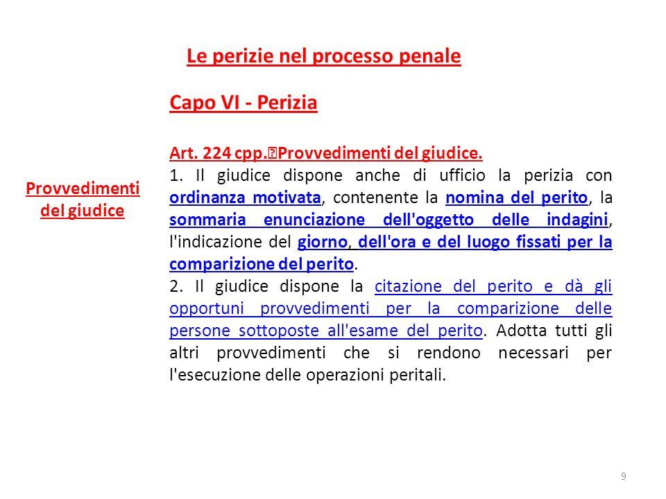 Le perizie nel processo penale Capo VI - Perizia Art. 224 cpp. Provvedimenti del giudice. 1. Il giudice dispone anche di ufficio la perizia con ordina