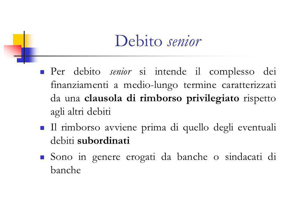 Debito senior Per debito senior si intende il complesso dei finanziamenti a medio-lungo termine caratterizzati da una clausola di rimborso privilegiato rispetto agli altri debiti Il rimborso avviene prima di quello degli eventuali debiti subordinati Sono in genere erogati da banche o sindacati di banche