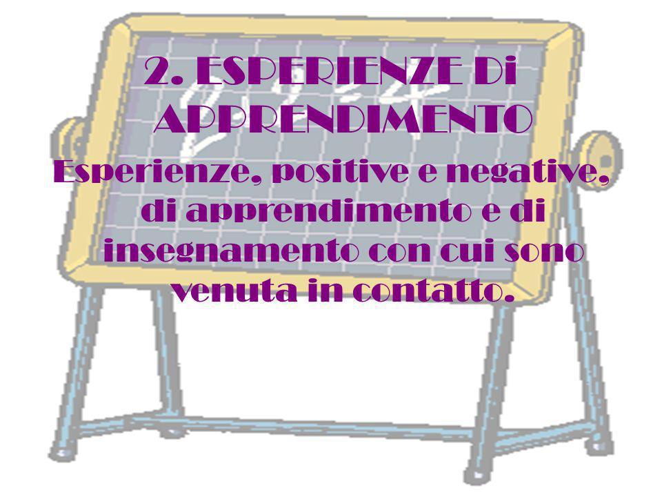 2. ESPERIENZE Di APPRENDIMENTO Esperienze, positive e negative, di apprendimento e di insegnamento con cui sono venuta in contatto.