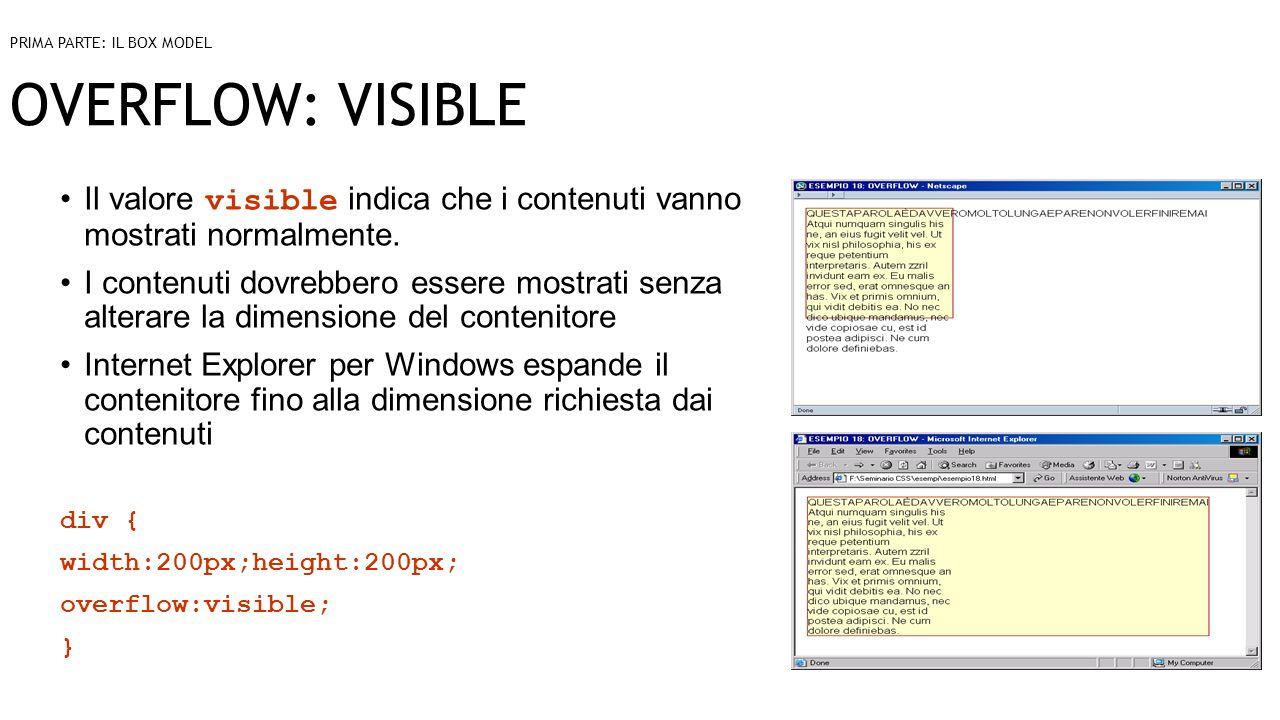 OVERFLOW: VISIBLE Il valore visible indica che i contenuti vanno mostrati normalmente.