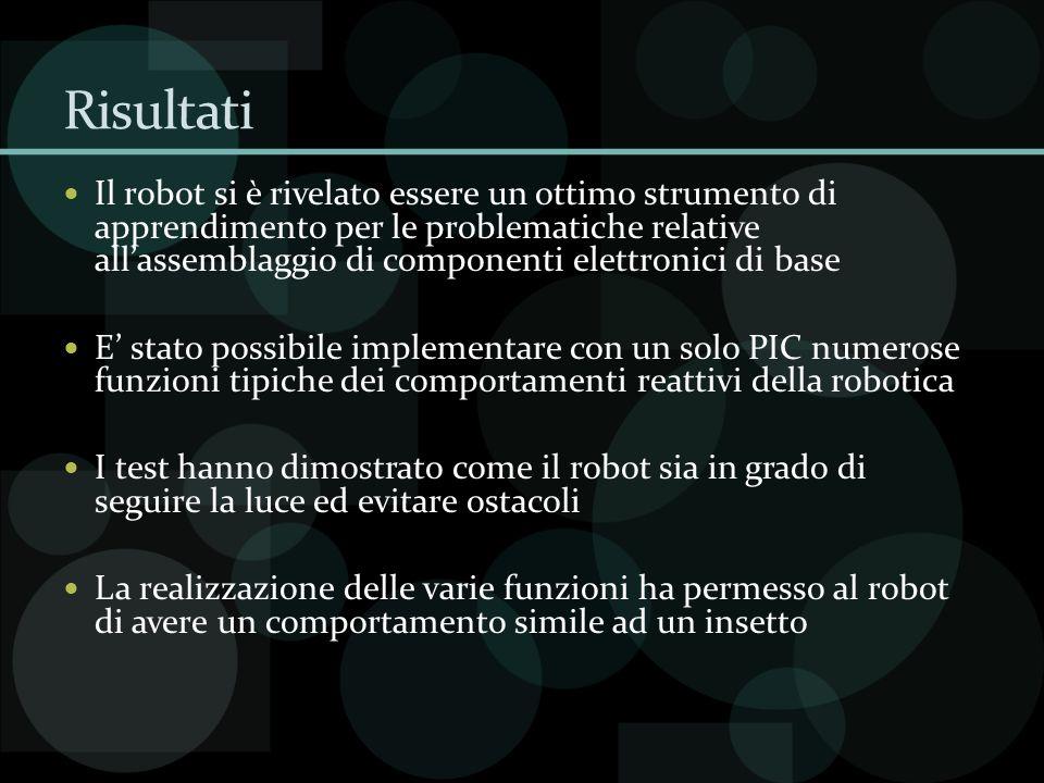 Risultati Il robot si è rivelato essere un ottimo strumento di apprendimento per le problematiche relative allassemblaggio di componenti elettronici d
