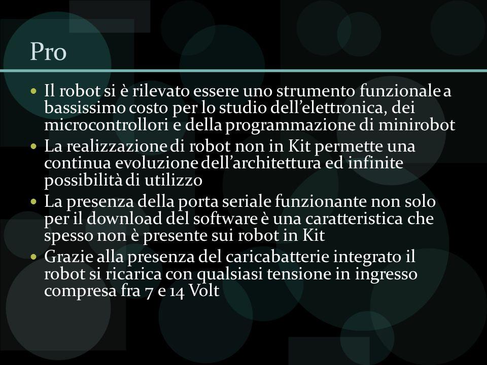 Pro Il robot si è rilevato essere uno strumento funzionale a bassissimo costo per lo studio dellelettronica, dei microcontrollori e della programmazio