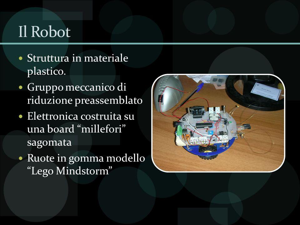 Il Robot Struttura in materiale plastico. Gruppo meccanico di riduzione preassemblato Elettronica costruita su una board millefori sagomata Ruote in g