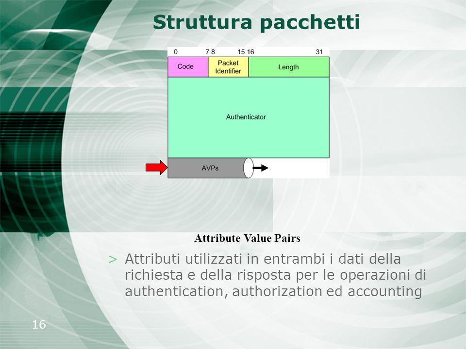 16 Struttura pacchetti >Attributi utilizzati in entrambi i dati della richiesta e della risposta per le operazioni di authentication, authorization ed