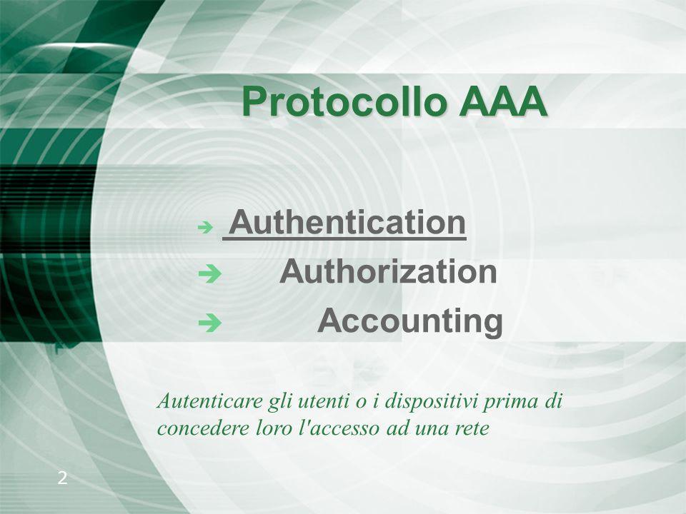 2 Protocollo AAA è Authentication è Authorization è Accounting Autenticare gli utenti o i dispositivi prima di concedere loro l'accesso ad una rete