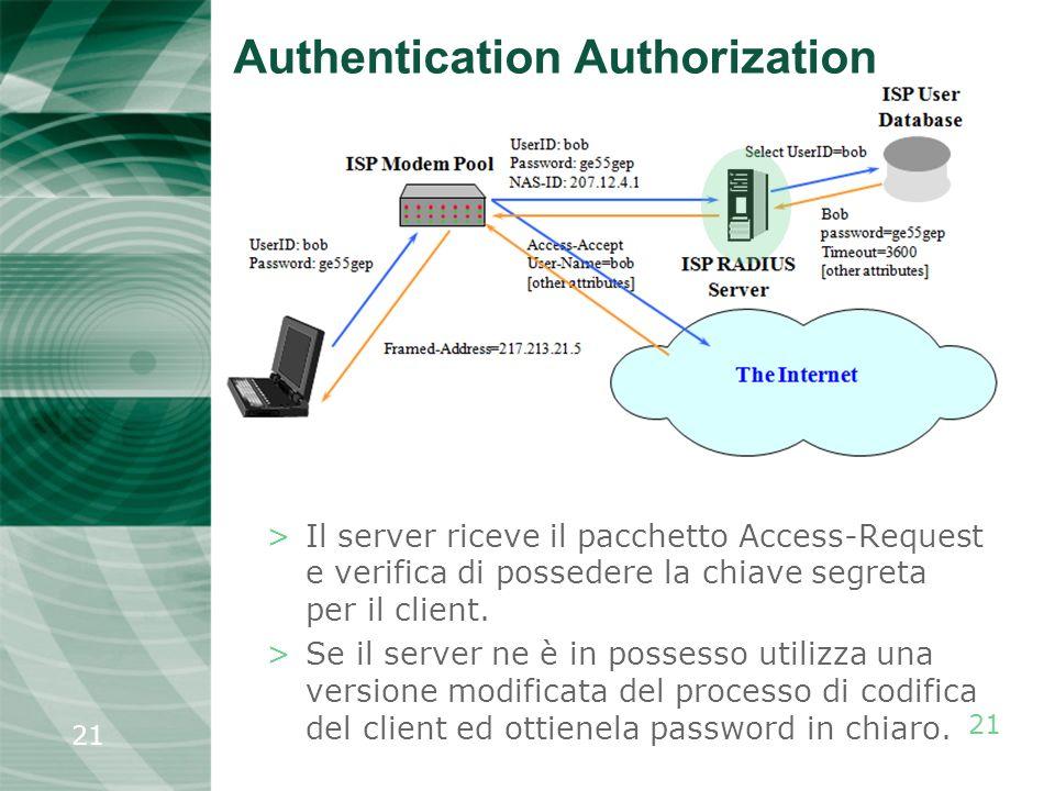 21 >Il server riceve il pacchetto Access-Request e verifica di possedere la chiave segreta per il client. >Se il server ne è in possesso utilizza una