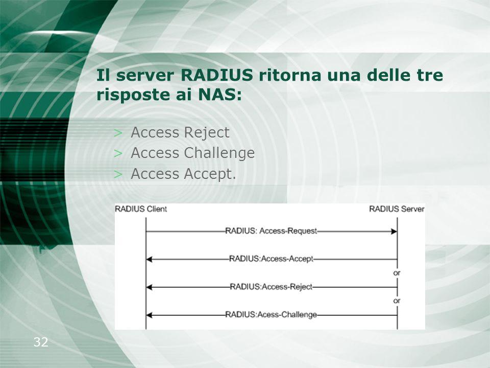 32 Il server RADIUS ritorna una delle tre risposte ai NAS: >Access Reject >Access Challenge >Access Accept.