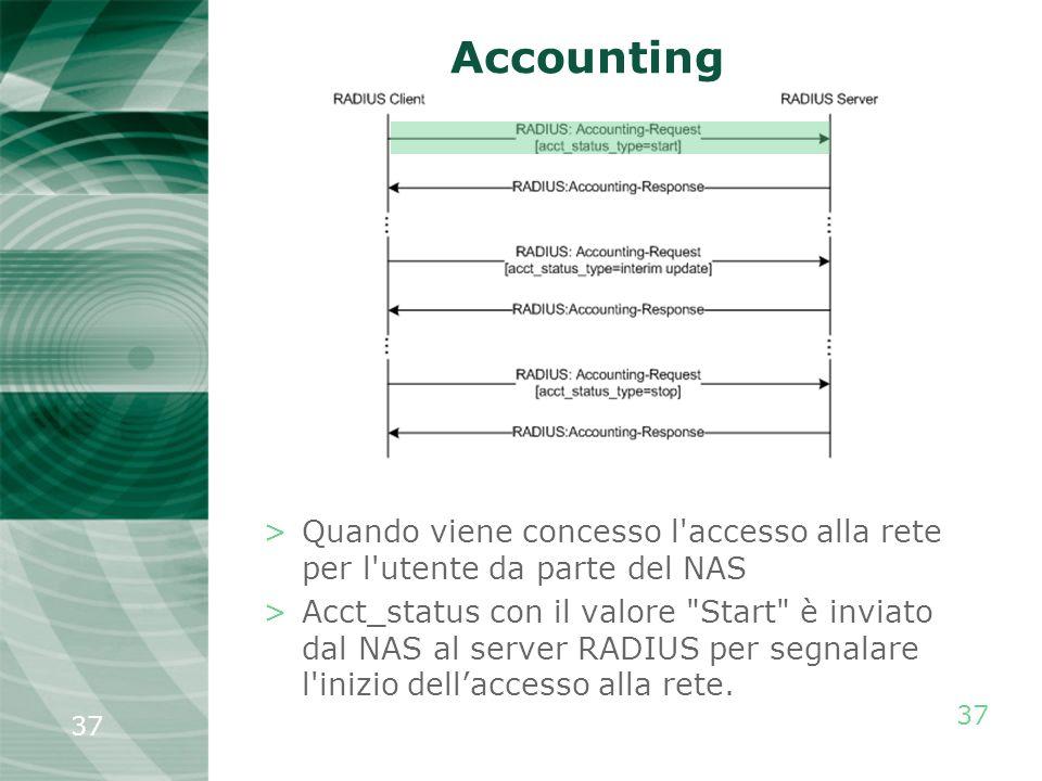 37 Accounting >Quando viene concesso l'accesso alla rete per l'utente da parte del NAS >Acct_status con il valore
