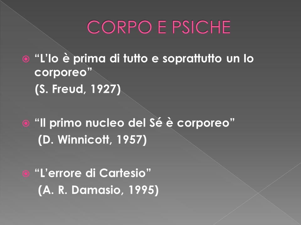 LIo è prima di tutto e soprattutto un Io corporeo (S. Freud, 1927) Il primo nucleo del Sé è corporeo (D. Winnicott, 1957) Lerrore di Cartesio (A. R. D