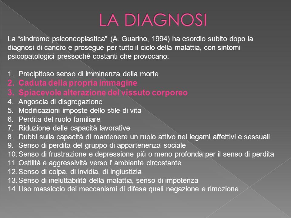 La sindrome psiconeoplastica (A. Guarino, 1994) ha esordio subito dopo la diagnosi di cancro e prosegue per tutto il ciclo della malattia, con sintomi