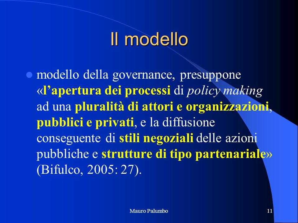 Mauro Palumbo11 Il modello modello della governance, presuppone «lapertura dei processi di policy making ad una pluralità di attori e organizzazioni, pubblici e privati, e la diffusione conseguente di stili negoziali delle azioni pubbliche e strutture di tipo partenariale» (Bifulco, 2005: 27).