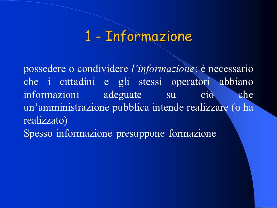 1 - Informazione possedere o condividere linformazione: è necessario che i cittadini e gli stessi operatori abbiano informazioni adeguate su ciò che unamministrazione pubblica intende realizzare (o ha realizzato) Spesso informazione presuppone formazione