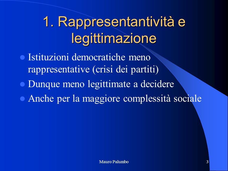 1. Rappresentantività e legittimazione Istituzioni democratiche meno rappresentative (crisi dei partiti) Dunque meno legittimate a decidere Anche per