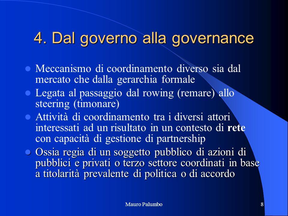Mauro Palumbo8 4. Dal governo alla governance Meccanismo di coordinamento diverso sia dal mercato che dalla gerarchia formale Legata al passaggio dal