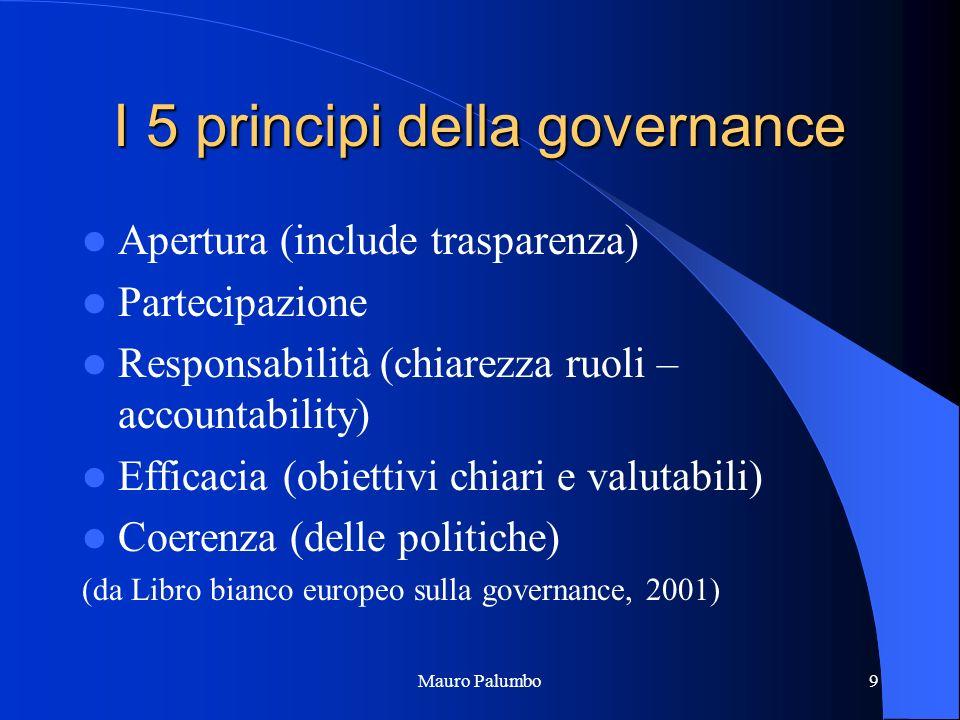Mauro Palumbo9 I 5 principi della governance Apertura (include trasparenza) Partecipazione Responsabilità (chiarezza ruoli – accountability) Efficacia (obiettivi chiari e valutabili) Coerenza (delle politiche) (da Libro bianco europeo sulla governance, 2001)