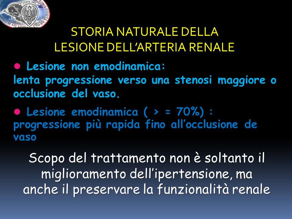 STORIA NATURALE DELLA LESIONE DELLARTERIA RENALE Lesione non emodinamica: lenta progressione verso una stenosi maggiore o occlusione del vaso. Lesione