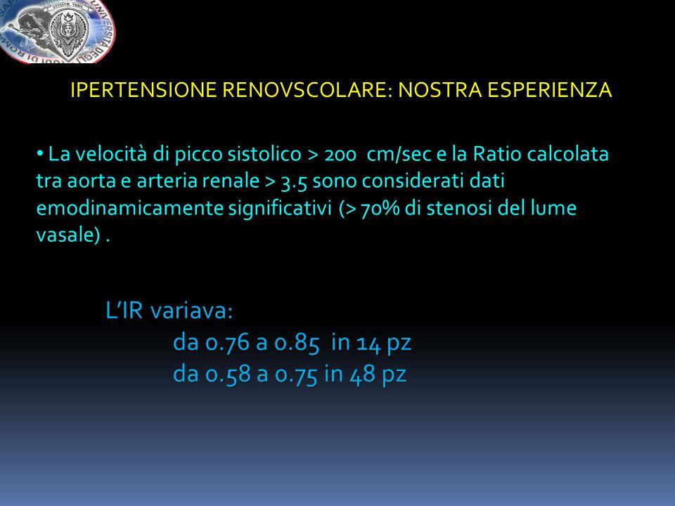 LIR variava: da 0.76 a 0.85 in 14 pz da 0.58 a 0.75 in 48 pz La velocità di picco sistolico > 200 cm/sec e la Ratio calcolata tra aorta e arteria rena