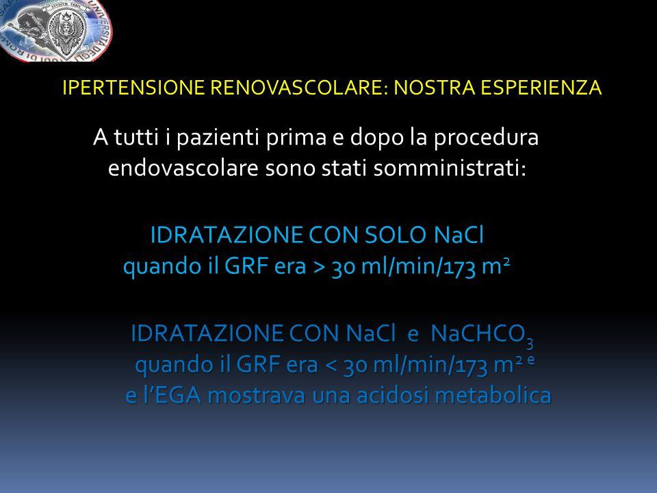 A tutti i pazienti prima e dopo la procedura endovascolare sono stati somministrati: IDRATAZIONE CON SOLO NaCl quando il GRF era > 30 ml/min/173 m 2 I