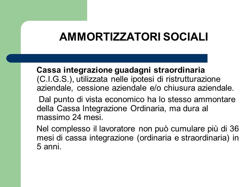 AMMORTIZZATORI SOCIALI Cassa integrazione guadagni straordinaria (C.I.G.S.), utilizzata nelle ipotesi di ristrutturazione aziendale, cessione aziendal