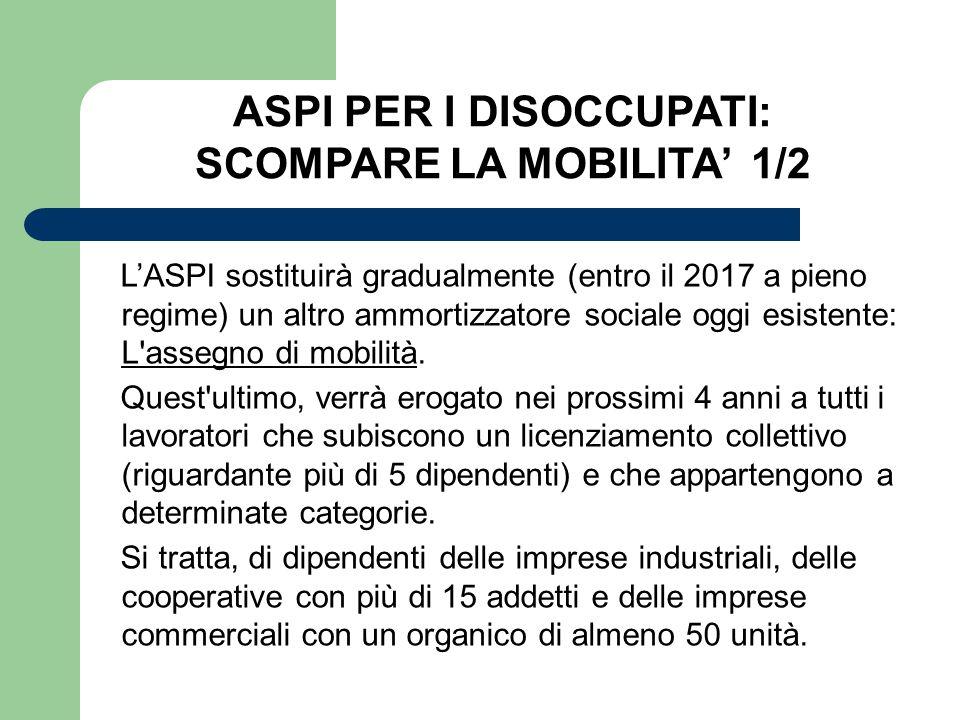 LASPI sostituirà gradualmente (entro il 2017 a pieno regime) un altro ammortizzatore sociale oggi esistente: L'assegno di mobilità. Quest'ultimo, verr