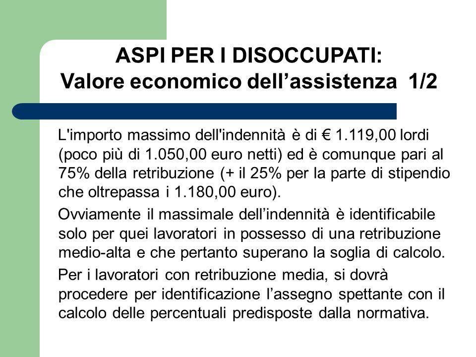 L'importo massimo dell'indennità è di 1.119,00 lordi (poco più di 1.050,00 euro netti) ed è comunque pari al 75% della retribuzione (+ il 25% per la p