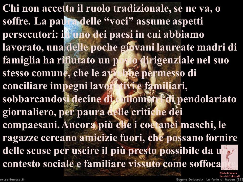 Michela Zucca Servizi Culturali Chi non accetta il ruolo tradizionale, se ne va, o soffre. La paura delle voci assume aspetti persecutori: in uno dei