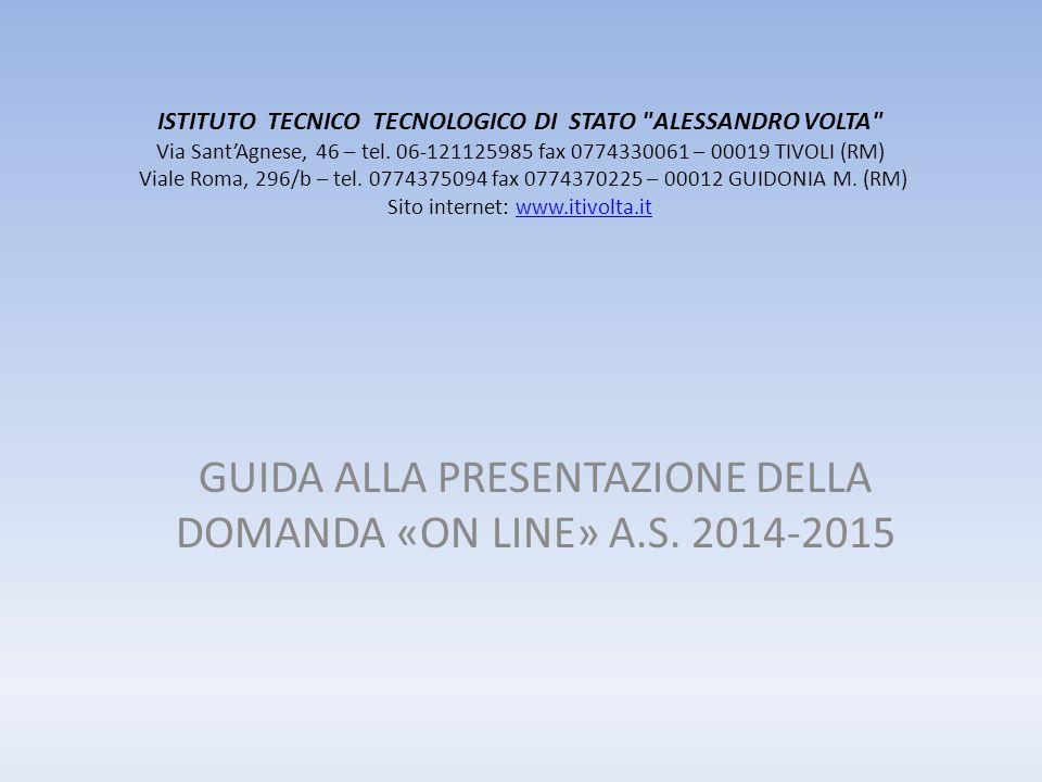 ISTITUTO TECNICO TECNOLOGICO DI STATO ALESSANDRO VOLTA Via SantAgnese, 46 – tel.