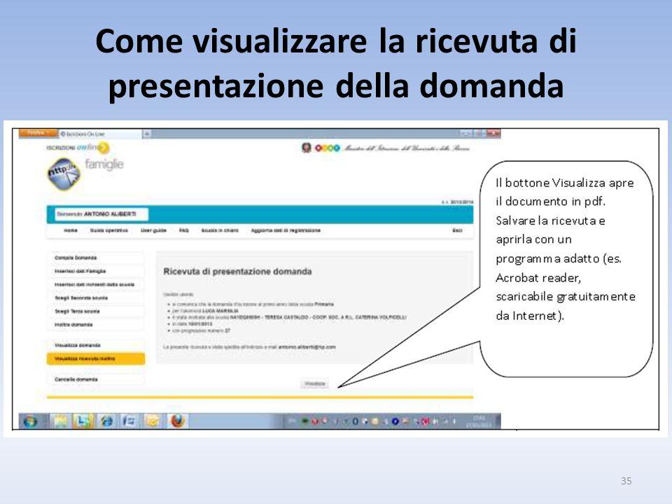 Come visualizzare la ricevuta di presentazione della domanda 35