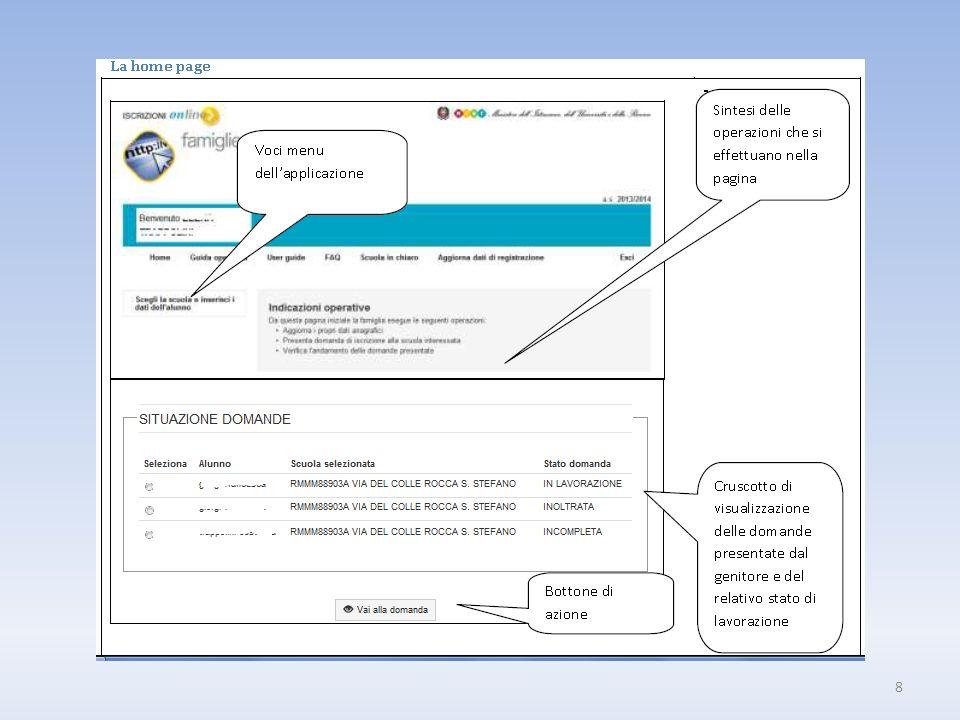Come presentare una nuova domanda discrizione La prima volta che lutente accede, il sistema lo guida nella compilazione di una nuova domanda discrizione, proponendo in sequenza le varie sezioni che la scuola ha previsto.