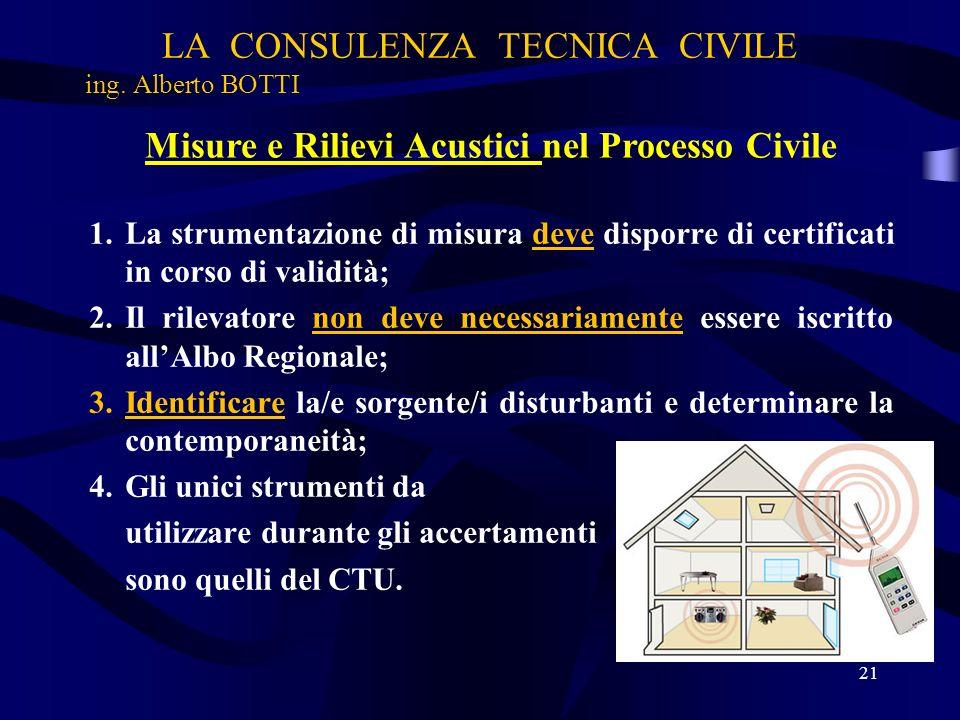 LA CONSULENZA TECNICA CIVILE ing. Alberto BOTTI 21 Misure e Rilievi Acustici nel Processo Civile 1.La strumentazione di misura deve disporre di certif