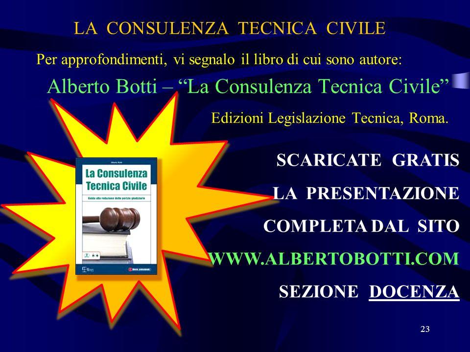 LA CONSULENZA TECNICA CIVILE Per approfondimenti, vi segnalo il libro di cui sono autore: Alberto Botti – La Consulenza Tecnica Civile Edizioni Legisl