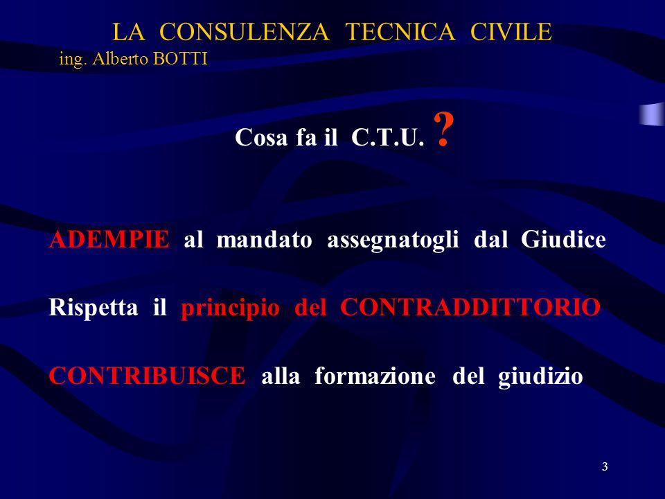 LA CONSULENZA TECNICA CIVILE ing.Alberto BOTTI Cosa NON fa il C.T.U.