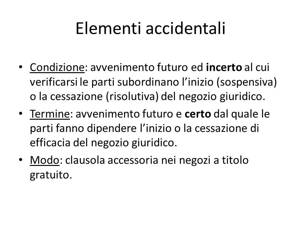 Elementi accidentali Condizione: avvenimento futuro ed incerto al cui verificarsi le parti subordinano linizio (sospensiva) o la cessazione (risolutiv