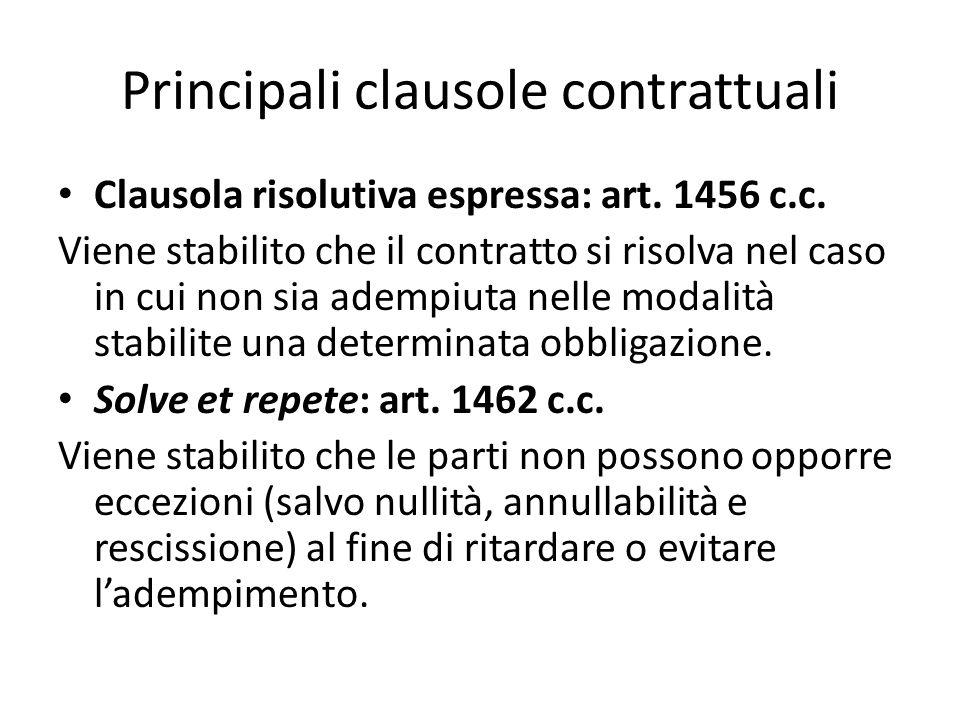 Principali clausole contrattuali Clausola risolutiva espressa: art. 1456 c.c. Viene stabilito che il contratto si risolva nel caso in cui non sia adem