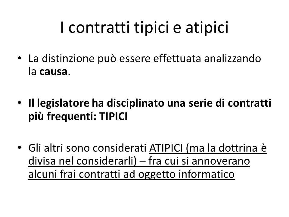 I contratti tipici e atipici La distinzione può essere effettuata analizzando la causa. Il legislatore ha disciplinato una serie di contratti più freq
