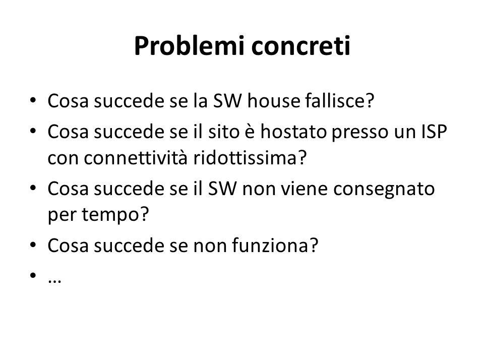 Problemi concreti Cosa succede se la SW house fallisce? Cosa succede se il sito è hostato presso un ISP con connettività ridottissima? Cosa succede se