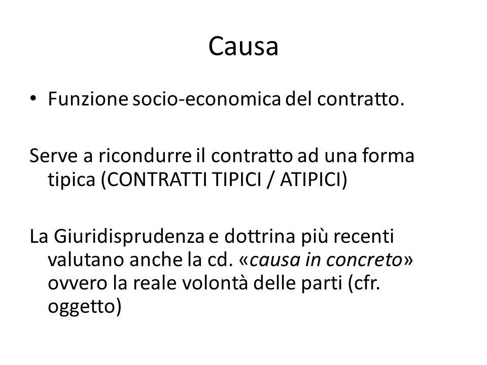Causa Funzione socio-economica del contratto. Serve a ricondurre il contratto ad una forma tipica (CONTRATTI TIPICI / ATIPICI) La Giuridisprudenza e d